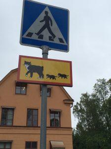 I Uppsala, der Pelle Svanslös bor, har kattene eget skilt. (Foto: Tone Formo)