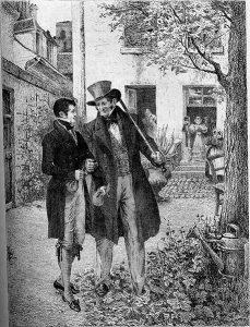 To elegant kledte menn i hage. illustrasjon