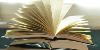 Bok som ligger åpen som en vifte.foto