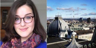 Stephanie Lutz de Miranda og utsikt fra Ingeniørenes hus. foto