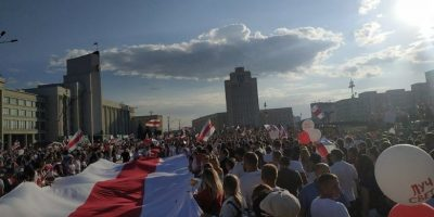 folkehav i demonstrasjon i Hviterussland. foto