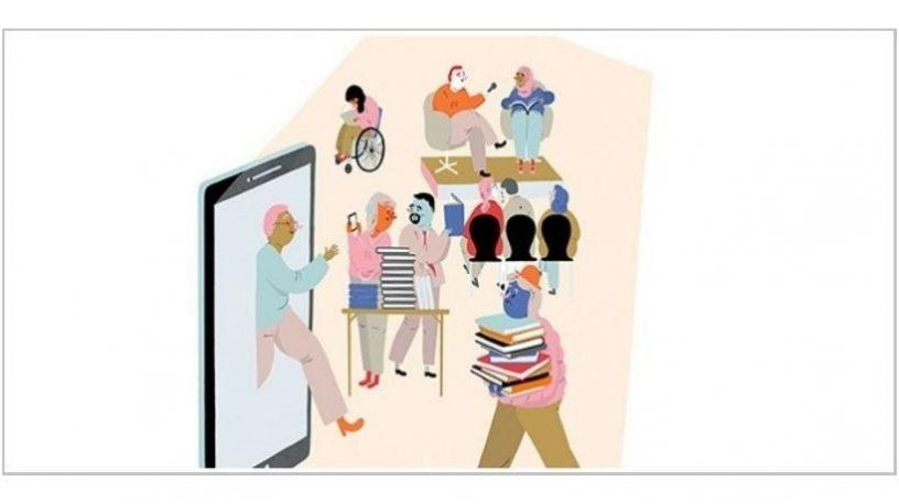 Mennesker som prater, går med bøker og går gjennom skjerm.illustrasjon