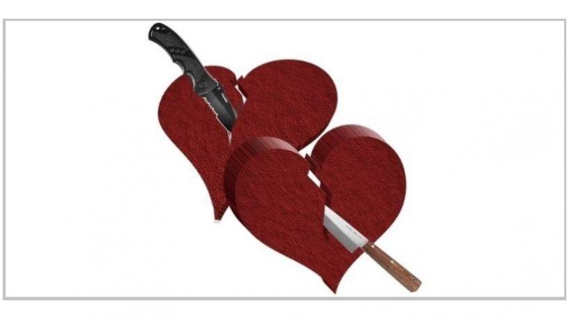 To hjerter med kniver gjennom.illustrasjon