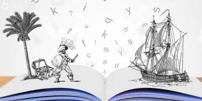 Pirat og skip i en åpen bok med bokstaver i bakgrunnen. illustrasjon
