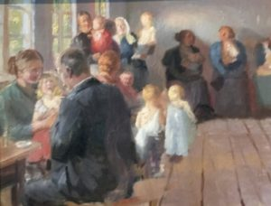 maleri av kvinner med barn til vaksinasjon hos lege